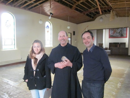 Fr Prior with Architext Adrian Buckley and Intern.JPG
